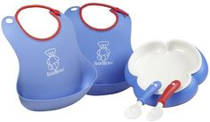 Bought these for my grandson who is learning to eat on his own. The bibs are so wonderful. Just rinse and dry... no washing machine!