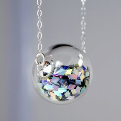 Prism glitter hand blown glass ball sterling silver by thestudio8 @ Etsy $32