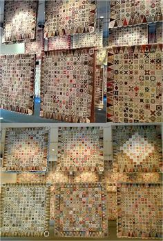 "Dear Jane in Nantes (France), April 2013, ""Pour l'amour du fil"" (for the love of fabric). An exhibit of over 100 Dear Jane quilts. Photo by Bronwyn at Red Brolly"
