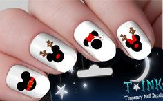 Christmas Nails – Disney Christmas Nail Decals Put The Holidays At Your Finger Tips Disney Christmas Nails, Xmas Nails, Disney Nails, Holiday Nails, Halloween Nails, Fun Nails, Christmas Decals, Christmas Art, Christmas Holidays