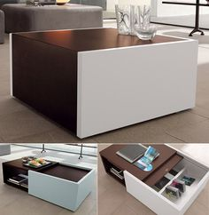 Unique coffee table storage with the ability to double surface area.