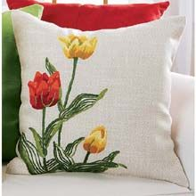 Spring Tulips Pillow Cover crewel kit