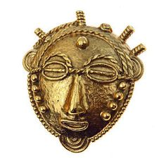 Vintage Goossens Paris Couture Brooch Tribal Mask Gold Tone Signed France French