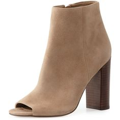 Sam Edelman Yarin Suede Peep-Toe Bootie ($170) ❤ liked on Polyvore featuring shoes, boots, ankle booties, ankle boots, oatmeal, peep toe booties, suede ankle booties, high heel ankle boots and high heel booties