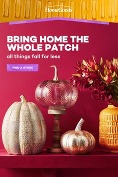 Go big or go small — but definitely go fall. Whether you're looking for tiny touches of autumn or a whole new look, HomeGoods is full of ever-changing fall decor ideas. Welcome the season with autumn wreaths, rustic home decor, warm lighting and all the fall dining accents and fall centerpieces. (And do it all for way, way less.) Gold Christmas Decorations, Thanksgiving Decorations, Seasonal Decor, Halloween Decorations, Christmas Bulbs, Fall Home Decor, Autumn Home, Diy Home Decor, Fall Crafts