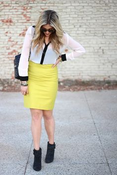 Discover this look wearing Chartreuse J Crew Skirts, Black Chanel Bags, White Fun 2 Fun Tops - Little Bumble Bee by devrachel styled for Trendy, Shopping in the Fall Daily Dress, Daily Wear, Yellow Pencil Skirt, J Crew Skirt, Yellow Fashion, Work Attire, Modest Fashion, Cool Outfits, Stylish
