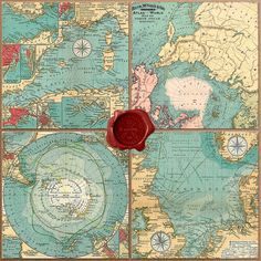 10 Vintage maps digital paper Old Sea Maps with by DigiWorkshop
