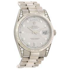 ROLEX White Gold and Diamond Day-Date Wristwatch