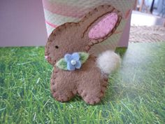 Felt Easter Bunny Brooch Spring  New Design by pennysbykristie, $12.50