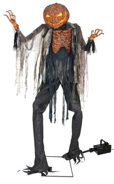 Scorched Scarecrow With Fog Machine Halloween Prop