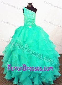 Turquoise One Shoulder Organza Beaded Little Girls Pageant Dress with Ruffles