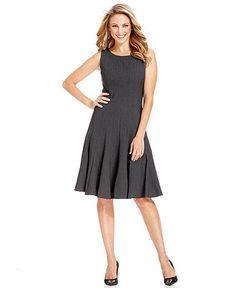 dc69ec0080e Calvin Klein Petite Sleeveless Pleated A-Line Dress   Reviews - Dresses -  Women - Macy s
