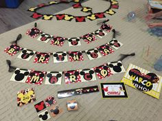 Mickey Mouse party set banners thank u tags signs hats ears dimadesignz