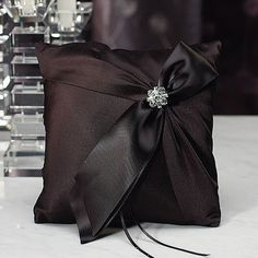 Beverly Clark Monroe Collection Ring Pillow - Black - The Wedding Faire