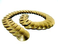 Gold Disk Stretch Belt Round Brass Disks by TheVintagePorch, $18.00