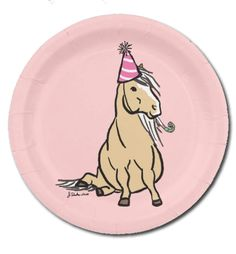 Pink Palomino Pony Birthday Party Paper Plates (8 pk) - The Painting Pony - for…