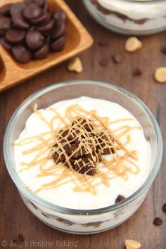 These Skinny Peanut Butter Brownie Parfaits taste like a big PB cup! Ready in 20 minutes & packed with 16g+ of protein!