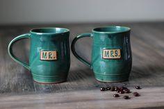 Handmade, Custom, Unique Mr and Mrs Matching Mugs.