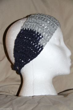 Crochet Unisex Teen/Adult headband earwarmer - fits most - Team Colors Gray Navy #homemade #earwamerheadband #teamsports #pmscrafts74