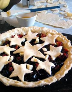 Star Pie crust: Use dough cut out with cookie cutters to decorate your pies