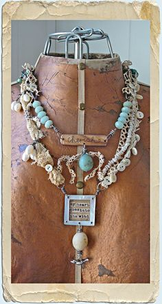 "necklace of found objects....-I think this is an interesting way to display a love of ""#InspiredByVintage"", with bits and pieces of scavenged old laces and new ones from Michaels."