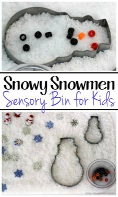 A simple and fun Snowman Sensory box for Kids! Fine motor fun that is a perfect winter or Christmas sensory box activity for preschoolers!
