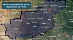 245PM: The National Weather Service in conjunction with the Storm Prediction Center have issued a severe thunderstorm watch until 10 PM covering the Concho Valley, Hill Country, Central Texas, and North Texas. Del Rio, San Angelo, Abilene, Brownwood, Kerrville, Austin, Waco, Waxahachie, Fort Worth, Dallas, Mineral Wells, Denton, McKinney, Sherman, Paris, and Sulphur Springs are all included in this watch. The strongest storms (which will be isolated) could produce hail up to