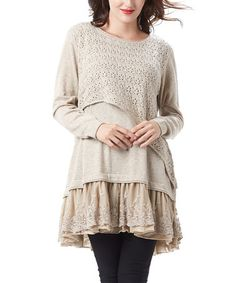 Beige Lace-Trim Tiered Tunic by Simply Couture #zulily #zulilyfinds