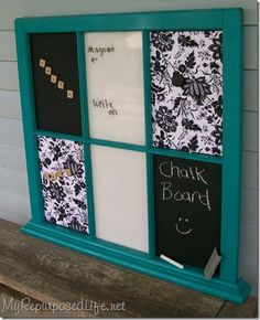 Repurpose the old window that I have been looking for something to make out of....into a message board...dry erase, chalkboard, magnetic