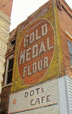 Old painted signs ~ Gold Medal Flour  (if you go to small towns some of these are still there)