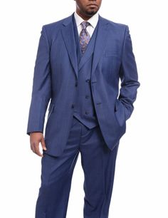 Angelo Wool 3 Piece Suit Blue Windowpane Plaid 2 Button notch lapel jacket with 2 vent back Double breasted vest with notch lapel Single pleat pant Blue Suit Men, Black Suits, Plaid Vest, Wool Vest, Three Piece Suit, 3 Piece Suits, Black Suit Wedding, Double Breasted Vest, Slim Fit Suits