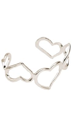Silver Plated Multi-Heart Cuff - Silver by Unchained Charms 18k Collection