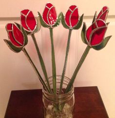 Stained glass rose bud