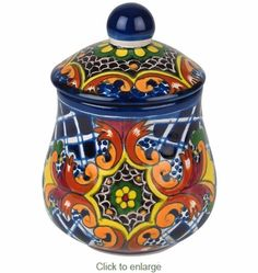 Our talavera sugar bowls are lead-free and safe for use as dinnerware. This yellow cross pattern sugar bowl and lid is dishwasher safe. All of our Mexican Talavera dishes and serving pieces are handmade and hand painted by Mexico's talented potters. Mexican Kitchen Decor, Boho Kitchen, Moroccan Art, Talavera Pottery, Tile Murals, Mexican Folk Art, Chocolate Pots, Kitchen Colors, Decorative Items