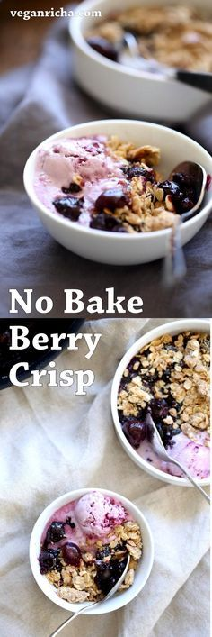 No Bake Vegan Cherry Blueberry Crisp. 20 Minute 1 Pot Berry Crisp. Seasonal Berries cooked to a compote and topped with Toasted Crisp Oat crumble. Serve with favorite ice cream. Vegan Recipe. Can be gluten-free, nut-free | VeganRicha.com