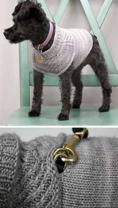 Free knitting pattern for Harness-friendly dog sweater - This sweater is designed to look sleek with or without a harness. There is a hole hidden by the cowl for a harness. Sizes: To fit dogs with a girth of Designed by Jacqueline Knitted Dog Sweater Pattern, Dog Coat Pattern, Knit Dog Sweater, Knitting Patterns For Dogs, Free Knitting, Knitting Ideas, Pet Sweaters, Animal Sweater, Dog Jumpers