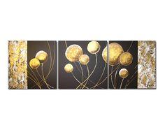 """""""Dmuchawce wenge gold"""". Tryptyk. 30x90 cm. Krystian Dzierla.   Internetowy sklep z obrazami Feeby.pl"""