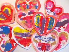 Symmetrical blot painting hearts - this is on my to do list!