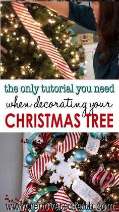 Gold Christmas Decorations, Ribbon On Christmas Tree, Christmas Tree Themes, Simple Christmas, Christmas Time, Christmas Topper, White Christmas, Christmas Ideas, Ribbon On Tree