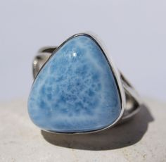 DOMINICAN AA+ MARBLED FREE-SHAPED LARIMAR STONE SILVER RING SIZE 9.25 JEWELRY #DominicanLarimarStone #FashionRing