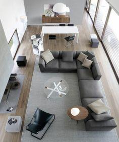 1 amenagement salon 20m2 longueur canape gris fonce d angle tapis gris table ronde basse tapis