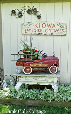 Junk Chic Cottage: Country vignette perfect for porch garden etc...