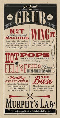 murphys law menu restaurant design restaurant inspiration