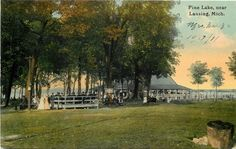 Lansing Michigan Boats to Let Casing Dock Pine Lake Dancing Pavilion 1910 | eBay