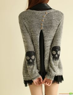 Skull appliqué piece sweater knit chiffon dress from Fashion4you on Storenvy