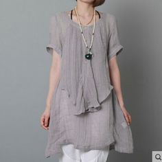 Gray linen sundress layered oversize linen summer dressesThis dress is made of cotton linen fabric, soft and breathy, suitable for summer, so loose dresses to make you comfortable all the time.Measurement: Size M length 79cm / 30.81
