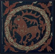 Intarsia and applique embroidery in fulled wool with gilded leather stripes. Blue background, red circle frame with leaves. Medieval Embroidery, Swedish Embroidery, Embroidery Applique, Embroidery Stitches, Blue Tapestry, Textiles, Asian History, Medieval Art, Dark Ages