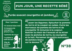 #recette #bébé du jour #38 #plat #dès12mois : Purée avocat, courgette et petit jambon