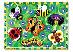 ♥ Melissa & Doug CHUNKY Puzzle Jigsaw ~ BUGS AND INSECTS ~ 7 Pieces ♥