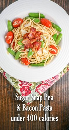 Delicious sugar snap pea, tomato, bacon, Parmesan, and lemon pasta for 378 calories and 10 Weight Watchers PointsPlus  - ready in 20 minutes